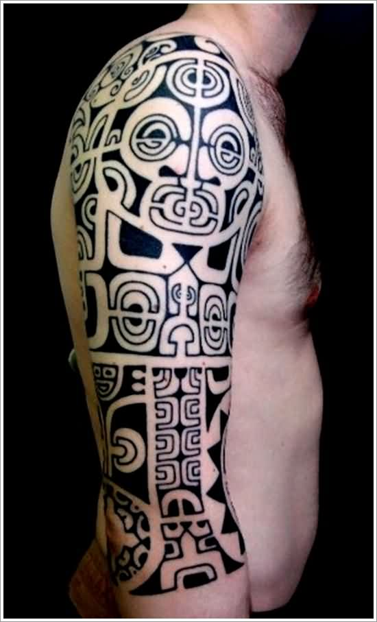 Maori Tribal Tattoos On Right Half Sleeve