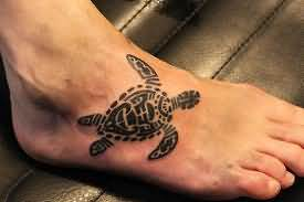 Maori Turtle Tattoo On Right Foot