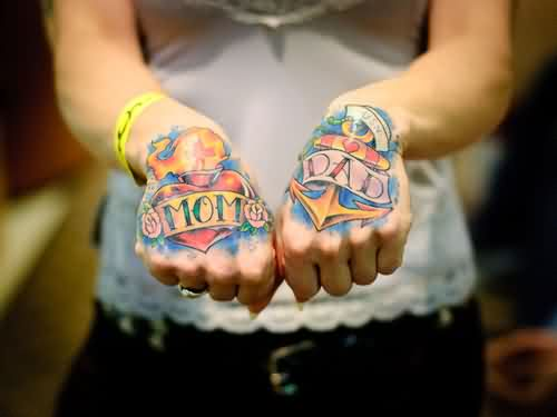 Mom Dad Heart And Anchor Tattoos On Hands