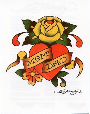 Mom Dad Heart And Rose Tattoos