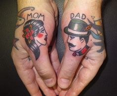 Mom Dad Traditional Tattoos On Thumbs