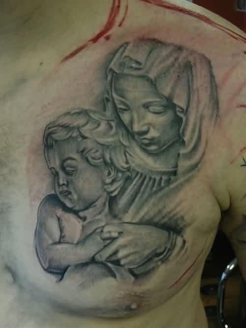Mother And Child Realistic Tattoos On Chest