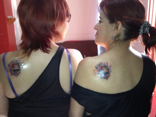 Mother And Daugter Back Shoulder Tattoos