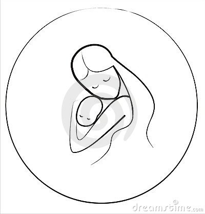 Mother Child Icon Circle Frame Tattoo Design