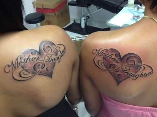 Mother Daughter Love Tattoos On Back Shoulders