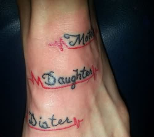 Mother Daughter Sister Tattoos On Foot