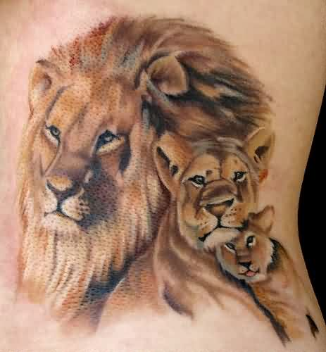 Mother Lion And Cubs Tattoos