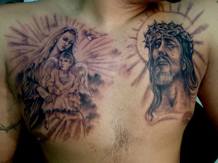 Mother Mary And Barbed Jesus Head Tattoos On Chest