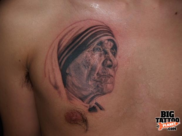 Mother Teresa Portrait Tattoo On Chest