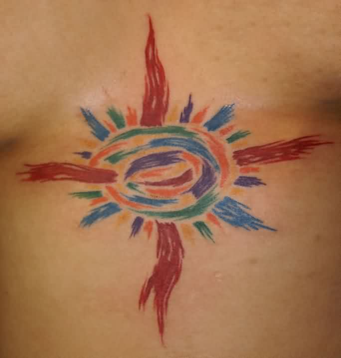 Multi Color Sun Tattoo