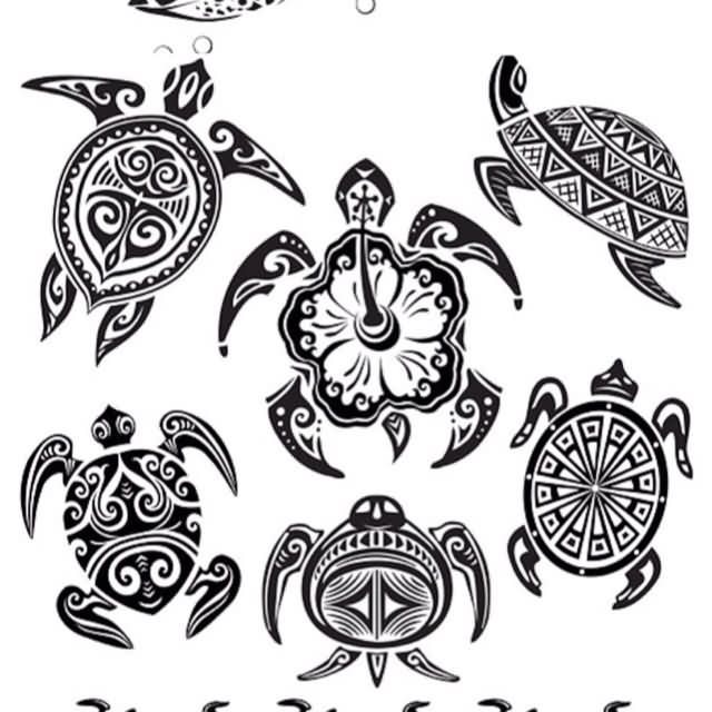 Multiple Hawaiian Turtle Tattoo Designs