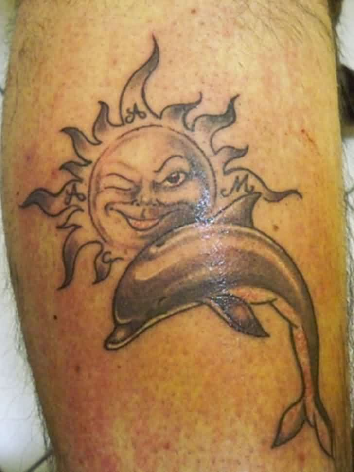 Naughty Sun And Dolphin Tattoos