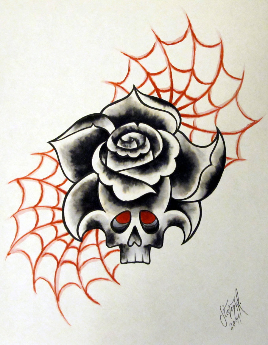 Neo Traditional Rose Skull Tattoo Design