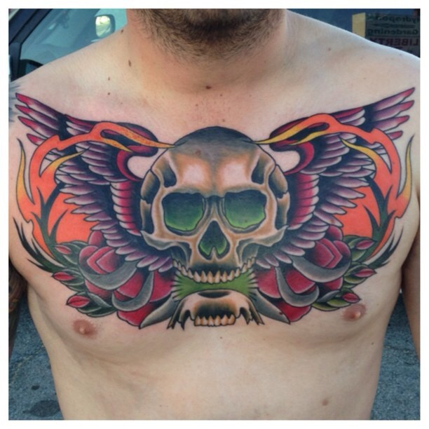 Neo Traditional Skull Chest Piece Tattoo For Men