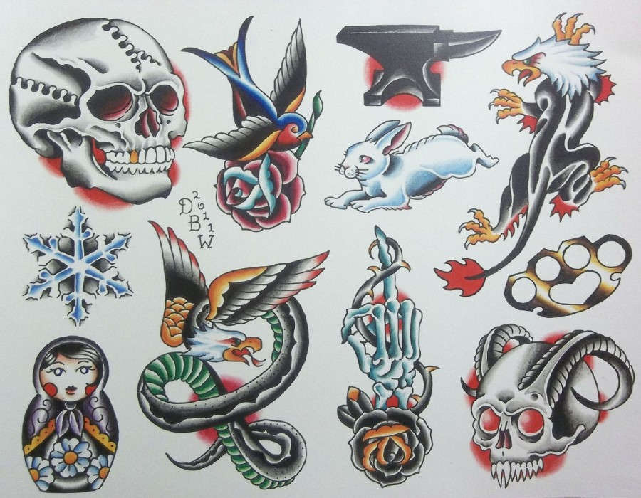 Neo Traditional Tattoo Sheet