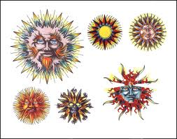 New Colorful Sun Tattoo Designs