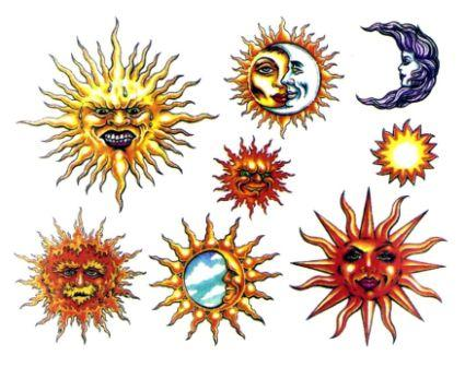 New Sun Tattoo Designs On A White Background