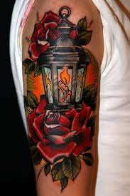 New Traditional Lantern Tattoo For Biceps