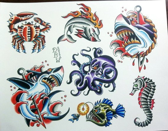 New Traditional Tattoo Flash Sheet
