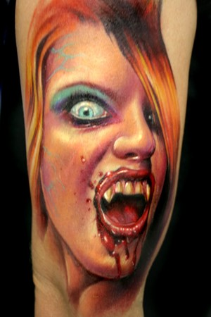 New Vampire Girl Portrait Tattoo For Arm