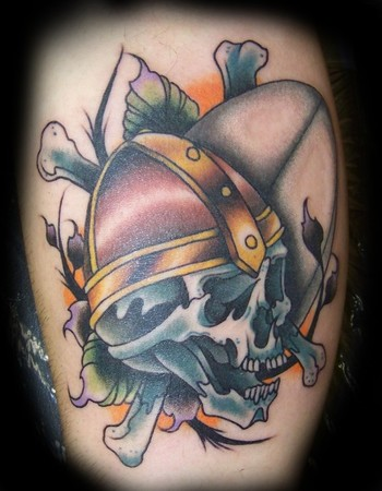 New Viking Skull With Cross Bones Tattoos