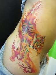 New Watercolor Tiger Tattoo On Waist
