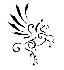 New Winged Unicorn Tattoo Design In Tribal Style
