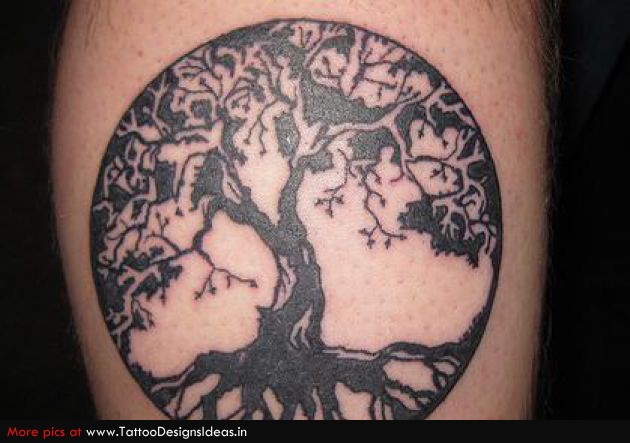 Nice Black Ink Celtic Tree Of Life Tattoo