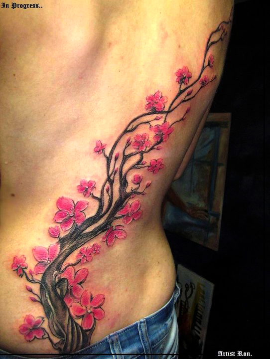 Nice Cherry Blossom Tree Tattoo On Side