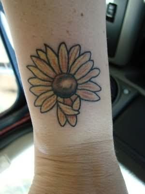Nice Sunflower Tattoo On Wrist