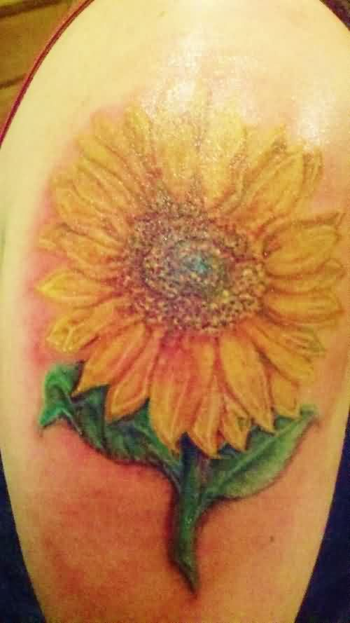 Nice Yellow Ink Sunflower Tattoo For Biceps