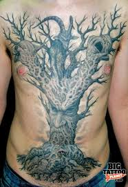 Old Man Tree Tattoo On Front Body With Grey Ink