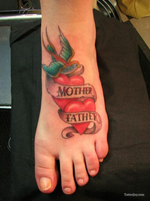 Old School Mother Father Tattoos On Foot