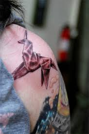 Origami Unicorn Tattoo For Shoulder
