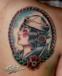 Outstanding Traditional Sailor Girl Tattoo
