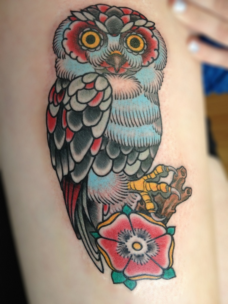 Traditional Owl Tattoo Arm