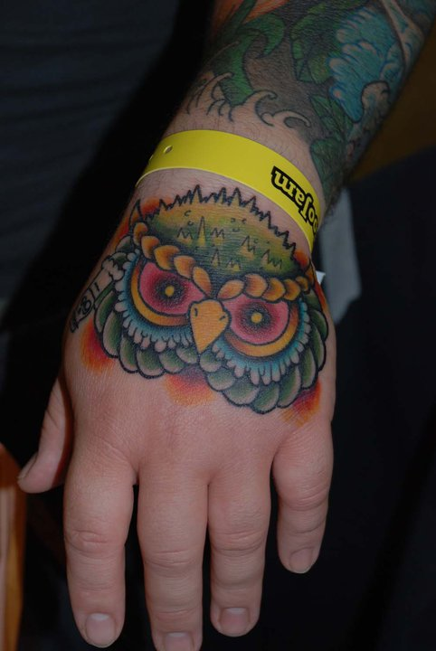 Owl Head Traditional Tattoo On Hand