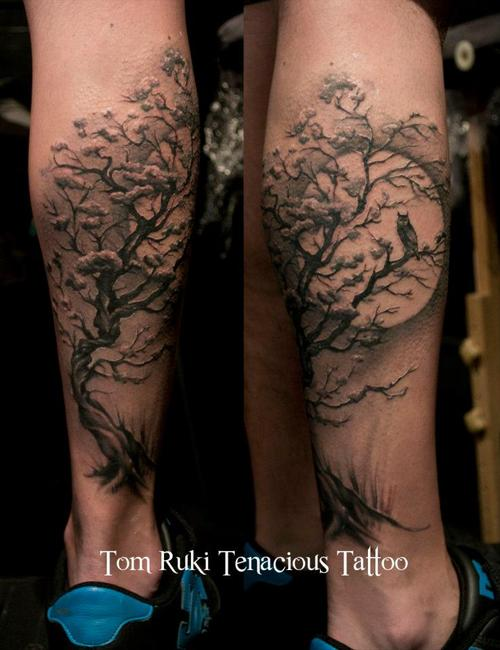 Owl In Tree Back Leg Tattoos