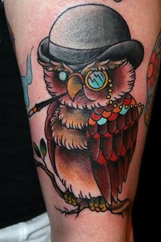 Owl Wearing Cap - Traditional Tattoo