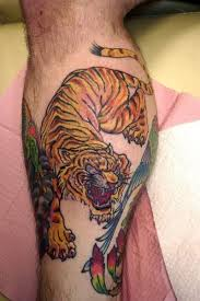 Perfect Tiger Tattoo For Leg