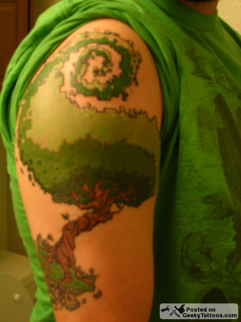Pixelated Tree Tattoo On Arm