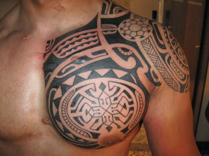 Polynesian Tribal Chest Tattoos Ideas 18