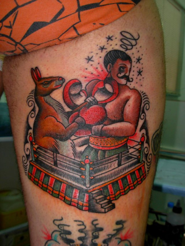 Popular Traditional Boxing Tattoo