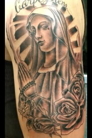 Praying Mother Mary And Roses Tattoos On Arm