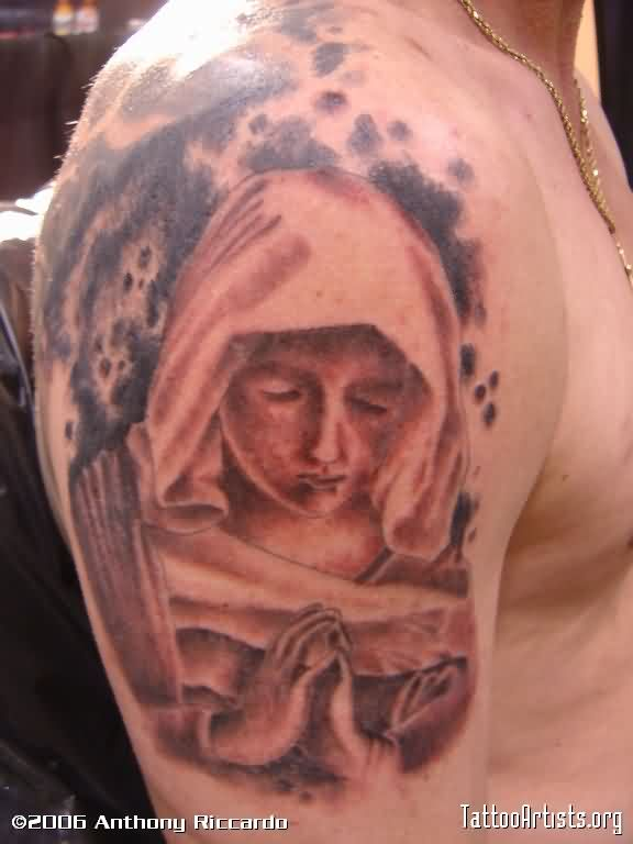 Praying Mother Mary Tattoo On Biceps