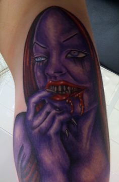 Purple Ink Vampire Girl Tattoo