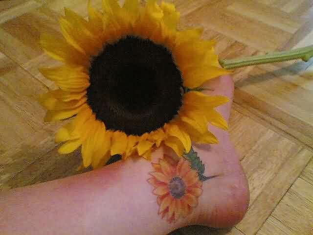 Real Sunflower And Sunflower Tattoo For Ankle