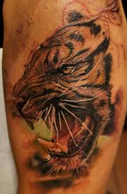 Realistic Face Tattoo Of Tiger