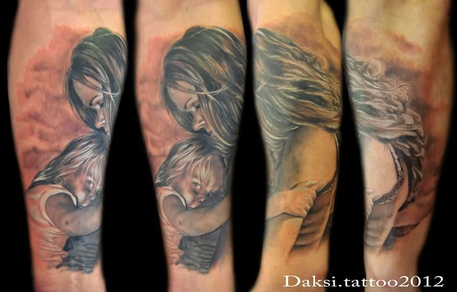 Realistic Mother And Child Sleeve Tattoos