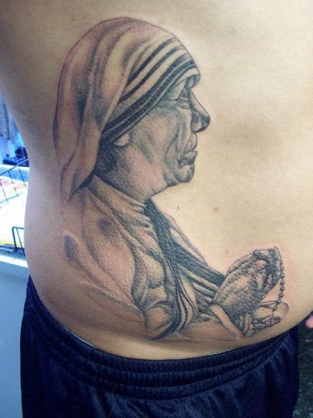Realistic Mother Teresa Tattoo On Waist
